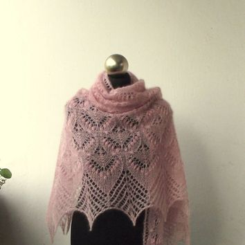 Light Pink hand knitted kid silk lace shawl with nupps, Queen Silvia kidsilk shawl