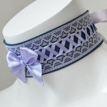Kitten play collar - Lilac night - ddlg princess pastel neko girl collar with lace - blue and lavender