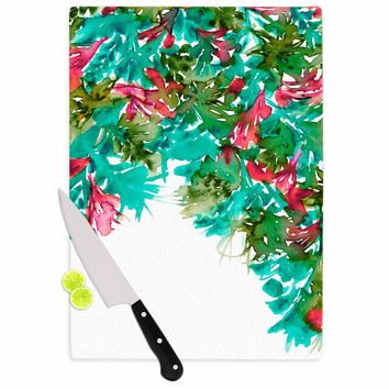 "Ebi Emporium ""Floral Cascade 7"" Teal Red Cutting Board"