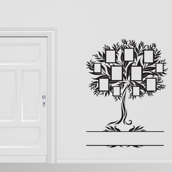 Vinyl Decal Family Wall Sticker Family Genealogical Tree With Frames For Photos  Unique Gift (n374)