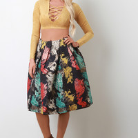 Metallic Textured Watercolor Pleated Midi Skirt
