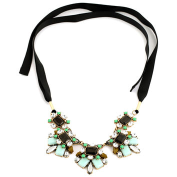 Women  Green Floral Statement Necklace