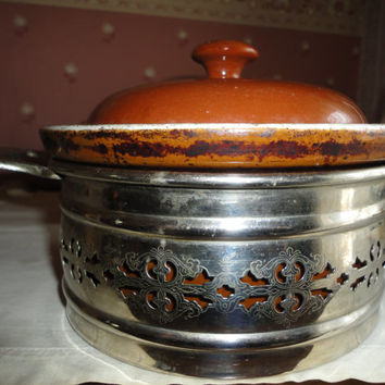 Vintage Guernsey Cooking Ware Casserole Bean Pot With Silver Metal Etched Pierced Stand Holder
