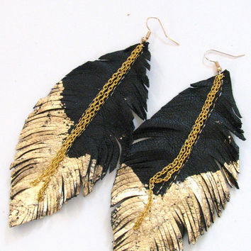 Feather Earrings - Leather Feather Jewelry, Leather Earrings, black & gold