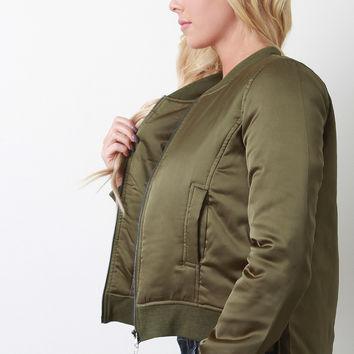 Puffy High-Low Bomber Jacket