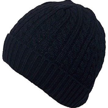 Angela & Williams Adult Tight Cable & Rib Knit Cuffed Winter Hat (One Size) - Black