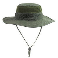 Unisex Outdoor Mesh Sun Hat Camouflage Boonie Bucket Hats Fishing Hats with String Army Green