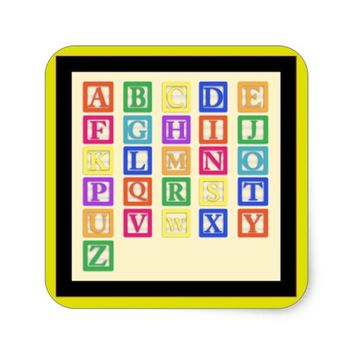 Block Letters Square Sticker