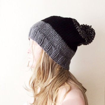 "Hand Knitted Hat, Slouchy  Hat, Beanie with Pompom,Boho ""Chunky "", Winter Fashion, Winter Accesories"