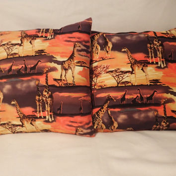 Decorative Pillow Cover, Throw pillow Cover Single 16 x 16 African Safari, Giraffe, Trees, Plains, Sunset ,African Animal, Giraffe Family