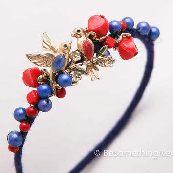Vintage love bird headband, in blue and red, woman hair accessory