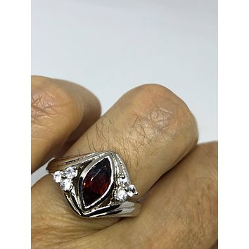 Vintage Bohemian Garnet white sapphire  925 Sterling Silver Rhodium Finish Ring