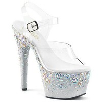 White Platform Ankle Strap Sandal 7 Inch Stiletto Heel-Stripper Shoes