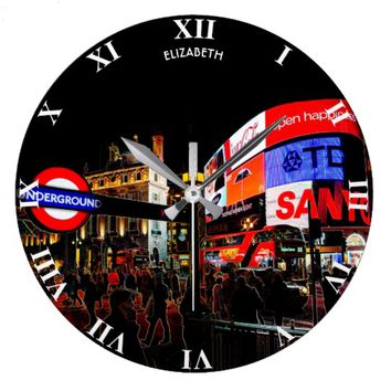 Fantasy Glowing Piccadilly In London At Night Large Clock