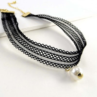 Women Fashion Jewelry Black Lace Choker Pearl Accent Casual Necklace Urban Retro Vintage Style