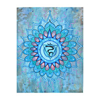 Mandala Print - Yoga Art - Shanti - Throat Chakra Painting - Spiritual art - Buddhist art  - Om painting - Namaste - Meditation Art