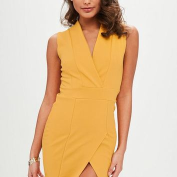 Missguided - Yellow Wrap Over Sleeveless Dress