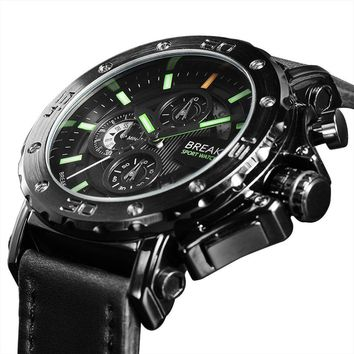 BREAK Leather Strap Wristwatches Luminous Chronograph Casual Fashion Sport Army Military Watch Relogio Masculino