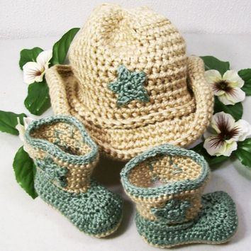 Baby Western Hat and Boots -Baby Boy Cowboy Gift Set-Tan and Sage Green--Baby Shower Gift- PLEASE CHOOSE YOUR SIZE