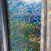 "Decorative Window Film Holographic Prismatic Etched Glass Effect - Fill Your House with Rainbow Light 23"" X 36"" Panel - Crystal Pattern"