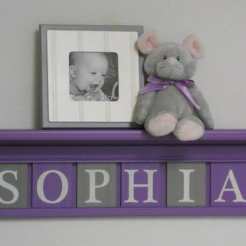 "Baby Name Sign, Purple Gray Name Blocks, Custom Letters 24"" Lilac Shelf - 6 Wooden Letter Plaques Personalized - SOPHIA - Unique Baby Gifts"