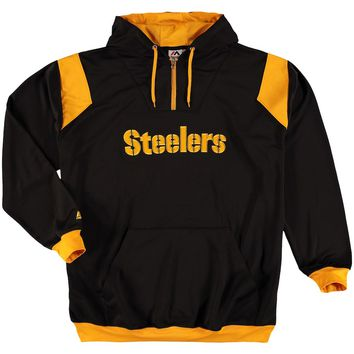 Men's Pittsburgh Steelers Majestic Black Big & Tall 1/4-Zip Pullover Hoodie