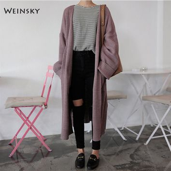 Weinsky Casual Style women knitted sweater Open Stitch women jumpers sweaters Korean Long Solid Color Cardigans Sweater Black
