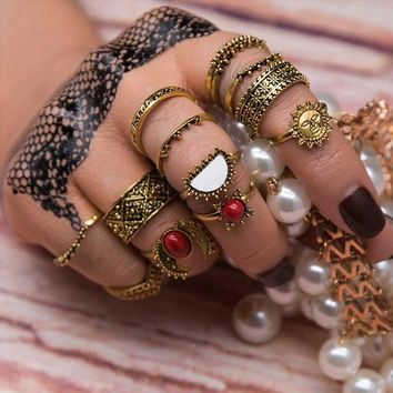 14pcs/Set Vintage Silver Color Moon And Sun Midi Ring Sets for Women Pattern Female Red Big Stone Knuckle Rings Gift