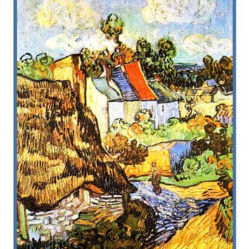 The House at Auvers inspired by Vincent Van Gogh's impressionist painting Counted Cross Stitch or Counted Needlepoint Pattern
