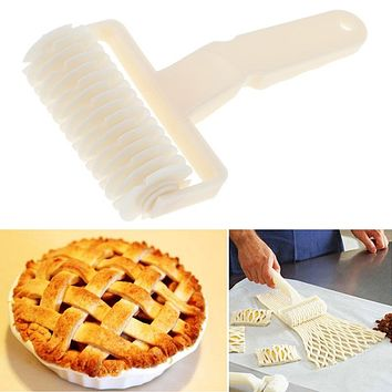 Large Pie Pizza Cookie Cutter Pastry Plastic Baking Tools Embossing Dough Roller  Bakeware Lattice Cutter Craft Kitchen Gadgets