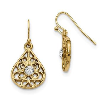 1928 Gold-Tone Crystal Shepherds Hook Earrings