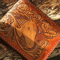 2014 zodiac horse / Handmade Custom personalized Carve Vegetable Tanned Leather Genuine leather Purse Wallet -214