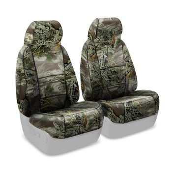 Coverking Front 50/50 Bucket Custom Fit Seat Cover for Select Nissan Titan Models - Neosupreme Camo Real Tree (Max-1 Solid)