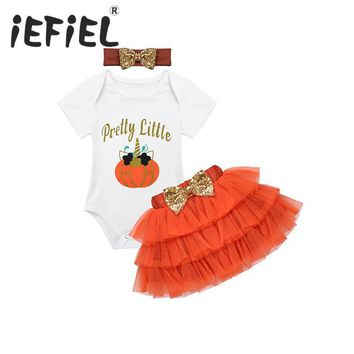 iEFiEL Infant Baby Girls Halloween Outfit Letters Printed Pretty Little and Cartoon Pumpkin Romper with Tutu Skirt Outfits