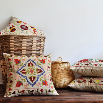 Hand Embroidered Tribal Suzani Pillow Cover - Modern Bohemian Home Decor - Tribal Pillow - Decorative Ethnic Pillow