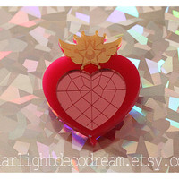 CLEARANCE Small Brooch Sailor Moon Chibimoon Compact Inspired Acrylic for Mahou Kei & Magical Girl Fashion