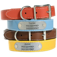 Personalized Designer Italian Leather Dog Collars - 11 Colors