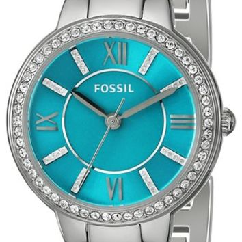 Fossil Women's ES3654 Virginia Three-Hand Stainless Steel Watch with Turq Dial
