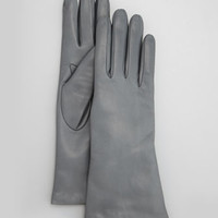 Four-Button Leather Gloves, Iron Gray