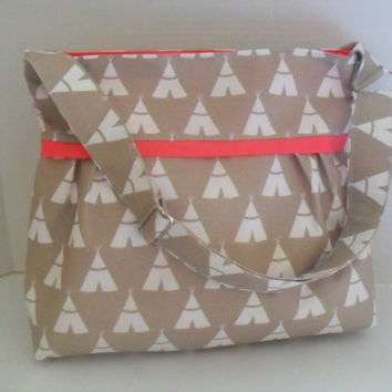 Diaper Bag - Tepee Fabric - Coral - Adjustable Strap - Deer Diaper Bag - Messenger Bag - Bags and Purses -  Stroller Straps - Monogramming