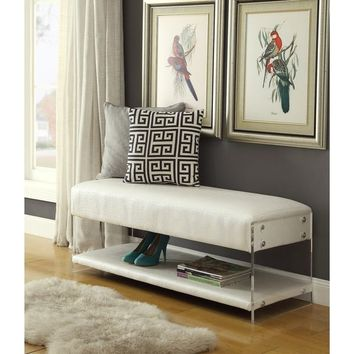 Kepler Leather Flat Seat Bottom Shelf Bench Acrylic Sides | Overstock.com Shopping - The Best Deals on Benches
