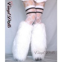 UV White Rave Fluffies fuzzy Furry Leg Warmers Fluffy Boot Covers