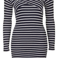PETITE Stripe Bardot Dress - Navy Blue