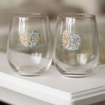 Nautical Mosaic Wine Glasses: Set of Two Stemless Wine Glasses/Tumblers