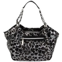 Betsey Johnson Flocled Cheetah Satchel - Pewter