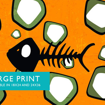 Mid Century Modern Print Fish Bones Abstract Art Print Poster Giclee on Cotton Canvas and Satin Photo Paper