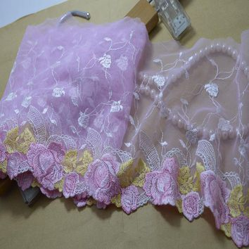 free shipping 18CM(2yds/lot)light pink mesh pink floral gold leaves Hight quality embroidery lace fabrics and lace 201721808