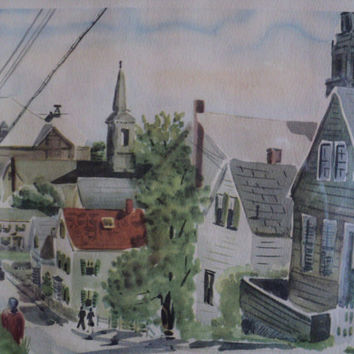 Watercolor Art Print Signed by Artist William McK Spierer Provincetown Cape Cod Scene Titled Sunday Morning Vintage Original Frame Beach Art