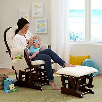 Baby Decorations-Baby Furniture-Premium Stork Craft Bowback Glider and Ottoman Set - Cherry/Beige
