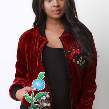 Embroidered Applique Velvet Bomber Jacket